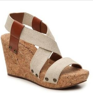 lucky brand marla cork wedge sandals size 8B